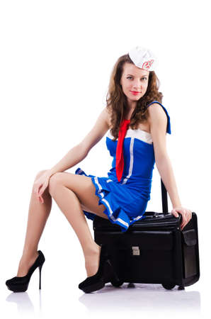 Woman sailor with suitcase on white Stock Photo - 18650906