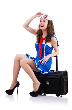Woman sailor with suitcase on white Stock Photo - 18650898