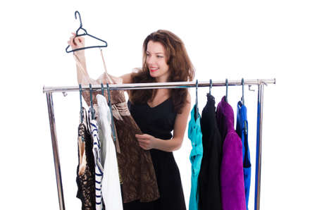 Woman trying new clothing on white Stock Photo - 18650924