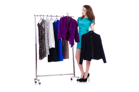 Woman trying new clothing on white Stock Photo - 18650837