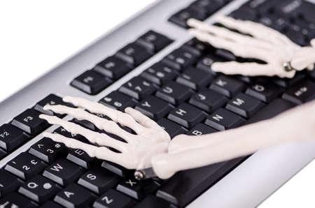 Skeleton working on the keyboard Stock Photo - 18608883