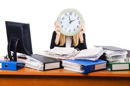 Femme sous stree de trop de travail Banque d'images