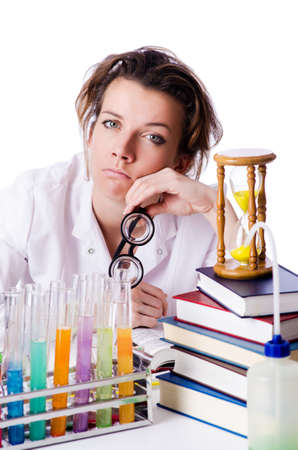 crazy woman: Crazy woman chemist in lab