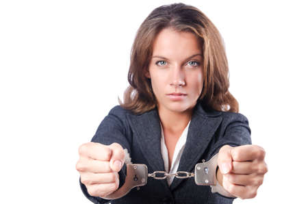 Female businesswoman with handcuffs on white Stock Photo - 18611412