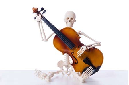 Skeleton playing violin isolated on the white Stock Photo - 18611066