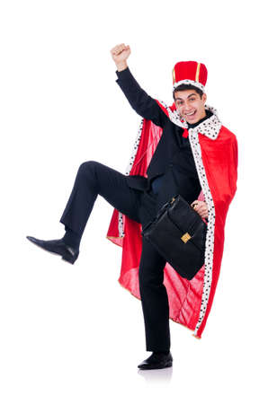 Businessman playing king isolated on white Stock Photo - 18611173