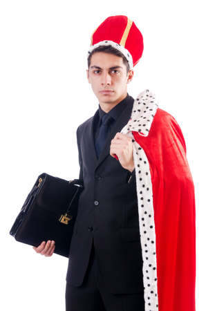 Businessman playing king isolated on white Stock Photo - 18611461