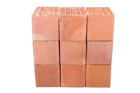 Stack of clay bricks isolated on white Stock Photo - 18614893