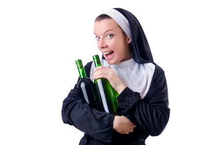 Nun with bottle of red wine photo