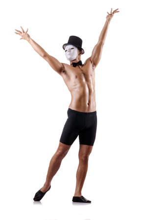 Naked muscular mime isolated on white Stock Photo - 18610673