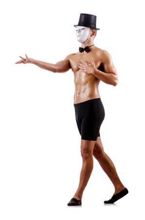 Naked muscular mime isolated on white Stock Photo - 18679383