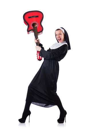 Nun playing guitar isolated on white Stock Photo - 18679393