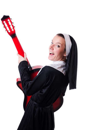 Nun playing guitar isolated on white Stock Photo - 18679578