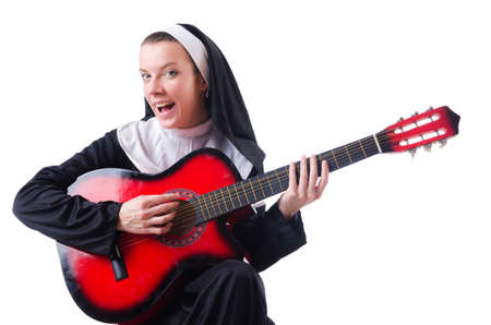 Nun playing guitar isolated on white Stock Photo - 18679857