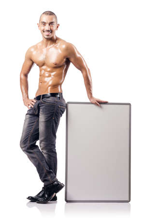 Half naked man with blank board Stock Photo - 18680062