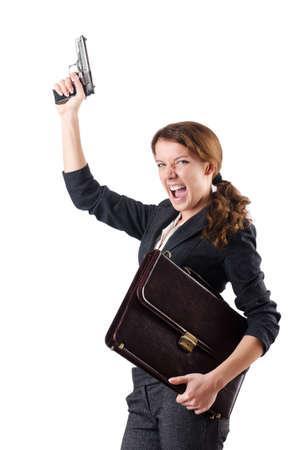 Woman businewoman with hand gun Stock Photo - 18680074