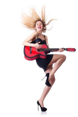 Female guitar player isolated on white Stock Photo - 18610914