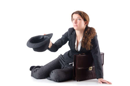 Businesswoman begging some money on white Stock Photo - 18680065