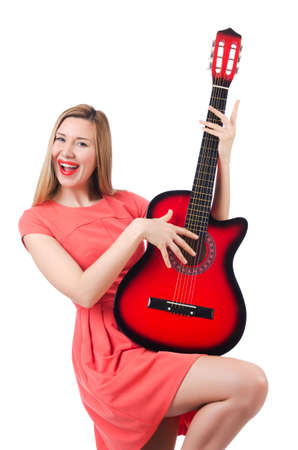 Female guitar player isolated on white Stock Photo - 18680041