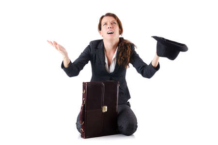 Businesswoman begging some money on white Stock Photo - 18679457