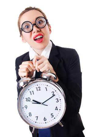Nerd businesswoman with gian alarm clock Stock Photo - 18680095