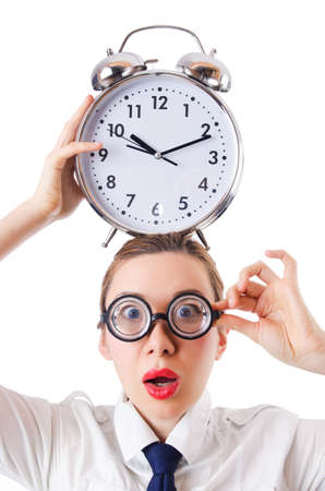 Nerd businesswoman with gian alarm clock Stock Photo - 18680122