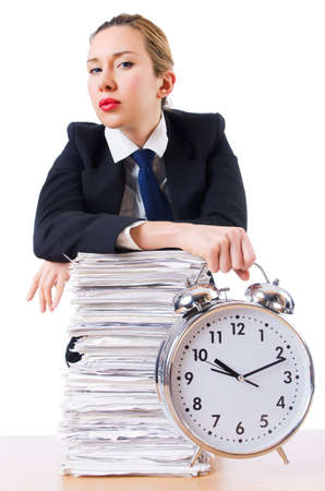 Woman businesswoman with giant alarm clock Stock Photo - 18680129