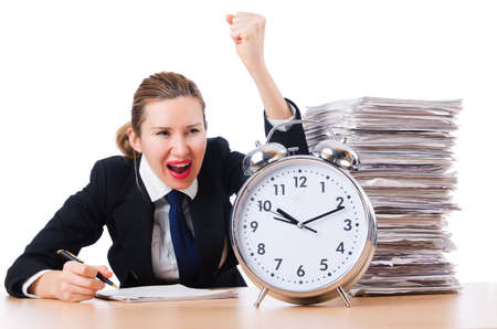 Woman businesswoman with giant alarm clock Stock Photo - 18611463