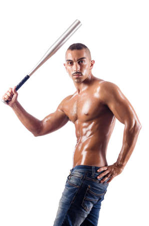 Muscular man with baseball bat on white Stock Photo - 18680039