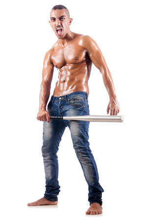 Muscular man with baseball bat on white Stock Photo - 18679933