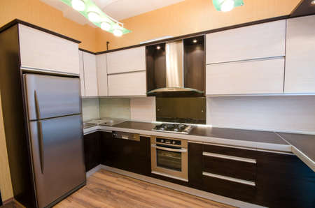 stainless steel sink: Interior of modern kitchen Stock Photo