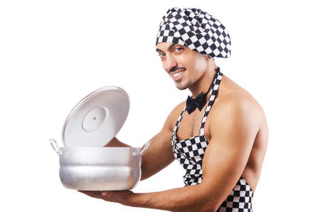 Sexy male cook isolated on the white Stock Photo - 18679862