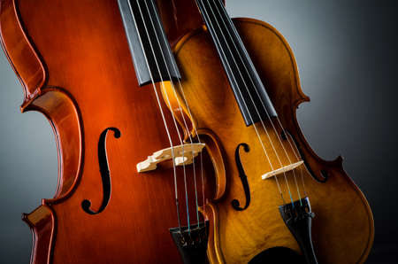 Violin in dark room  - music concept Stock Photo - 18615786