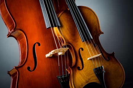 Violin in dark room  - music concept Stock Photo - 18615786