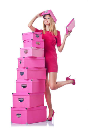 Woman with stack of giftboxes Stock Photo - 18680047