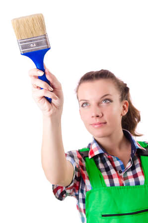 Woman painter with paintbrush on white Stock Photo - 18679863