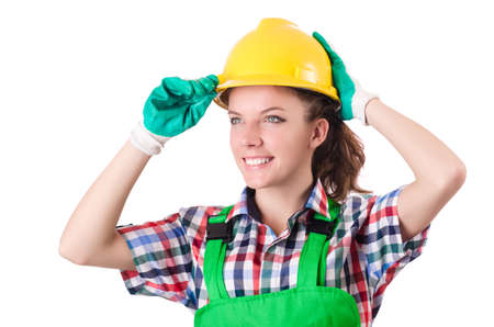 Woman builder isolated on the white Stock Photo - 18680098