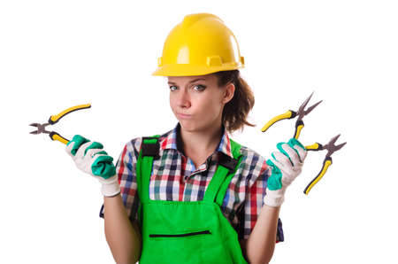 Woman worker isolated on the white Stock Photo - 18680033