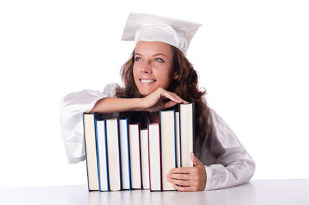 Graduate with book isolated on white Stock Photo - 18679853