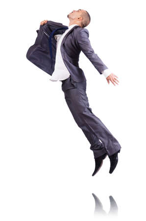 Dancing businessman isolated on white Stock Photo