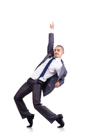 dancing man: Dancing businessman isolated on white Stock Photo
