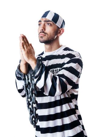 Convict criminal in striped uniform Stock Photo - 18680185