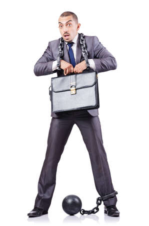 Businessman with shackles on white Stock Photo - 18611325