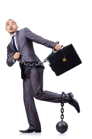 Businessman with shackles on white Stock Photo - 18679641