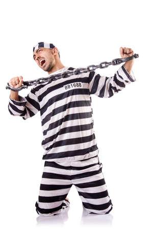 Convict criminal in striped uniform Stock Photo - 18679851