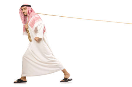 Arab pulling rope photo