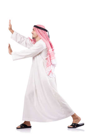 Arab businessman pushing isolated on the white photo