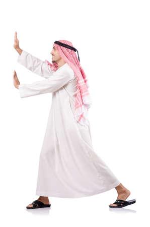 Arab businessman pushing isolated on the white photo