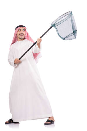 Arab businessman with catching net on white Stock Photo - 18611011