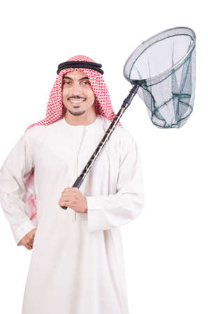 Arab businessman with catching net on white Stock Photo - 18680054